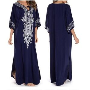 Rayon caftan blue dress with embroidery